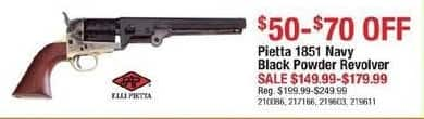 Cabelas Black Friday: Select Pietta 1851 Navy Black Powder Revolvers for $149.99 - $179.99