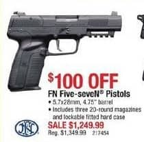 """Cabelas Black Friday: FN Five-SeveN Pistols: 5.7x28mm, 4.75"""" Barrel with 3 x 20-rd Magazines and Lockable Fitted Hard Case for $1,249.99"""