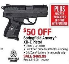 "Cabelas Black Friday: Springfield Armory XD-E Pistol: 9mm, 3.3"" Barrel + $50 Cabela's Gift Card for $469.99"