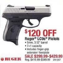 """Cabelas Black Friday: Ruger LC9s Pistols: 9mm, 3.12"""" Barrel, and 7+1 Capacity for $299.99 - $429.99"""