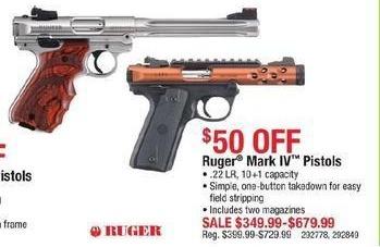 Cabelas Black Friday: Ruger Mark IV Pistols: .22LR, 10+1 Capacity for $349.99 - $679.99