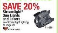 Cabelas Black Friday: Streamlight Gun Lights and Lasers - 20% Off