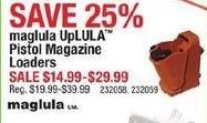 Cabelas Black Friday: Select Maglula UpLULA Pistol Magazine Loaders for $14.99 - $29.99