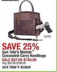 Cabelas Black Friday: Gun Tote'n Mamas Concealed-Carry Handbags for $67.49 - $149.99