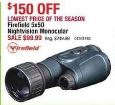 Cabelas Black Friday: Firefield 5x50 Nightvision Monocular for $99.99
