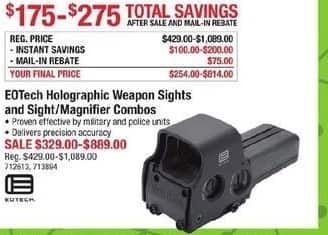 Cabelas Black Friday: Select EOTech Holographic Weapon Sights and Sight/Magnifier Combos - $175 - $275 Off after $75 rebate