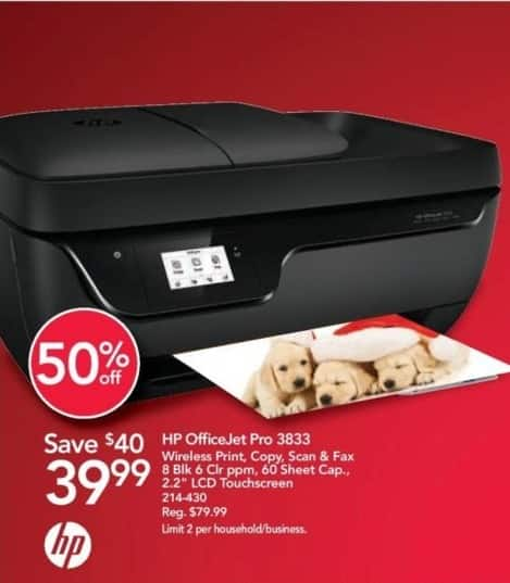 "Office Depot and OfficeMax Black Friday: HP OfficeJet Pro 3833 Wireless All-in-One Printer with 2.2"" LCD Touchscreen for $39.99"