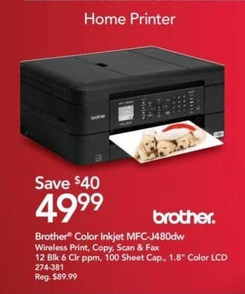 "Office Depot and OfficeMax Black Friday: Brother MFC-J480dw Wireless Color All-in-One Inkjet Printer with 1.8"" Color LCD for $49.99"