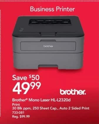 Office Depot and OfficeMax Black Friday: Brother HL-L2320d Mono Laser Printer for $49.99