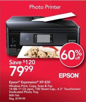 "Office Depot and OfficeMax Black Friday: Epson Expression XP-830 Wireless All-in-One Printer with 4.3"" Touchscreen and Dedicated Photo Tray for $79.99"