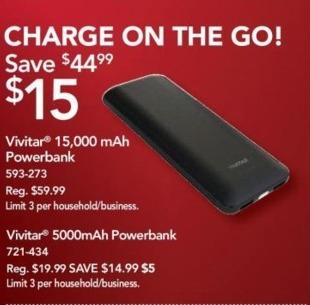 Office Depot and OfficeMax Black Friday: Vivitar 15,000 mAh Powerbank for $15.00