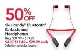 Office Depot and OfficeMax Black Friday: Skullcandy Bluetooth Earbuds and Headphones for $17.49 - $29.99