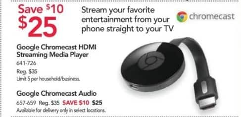 Office Depot and OfficeMax Black Friday: Google Chromecast Audio for $25.00