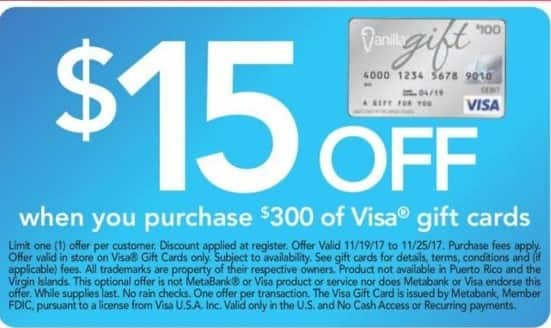 Office Depot and OfficeMax Black Friday: $300 Visa Gift Card - $15 Off