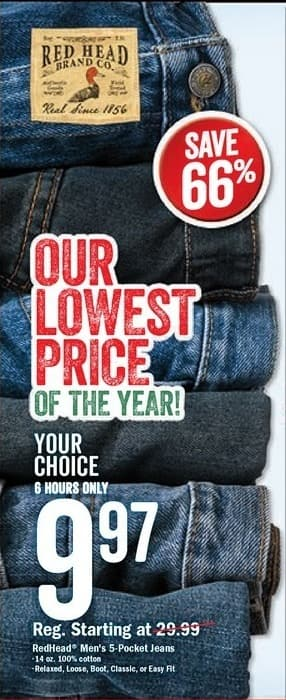 Bass Pro Shops Black Friday: RedHead Men's 5-Pocket Jeans: Relaxed, Loose, Boot, Classic, or Easy Fit for $9.97