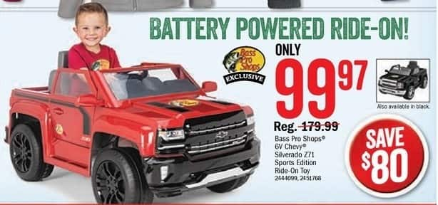 Bass Pro Shops Black Friday: Bass Pro Shops 6V Chevy Silverado Z71 Sports Edition Ride-On Toy, Red or Black for $99.97