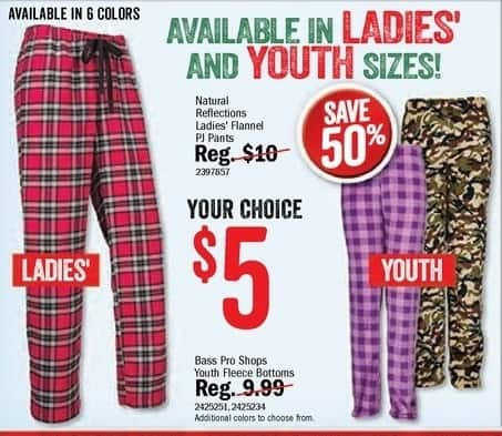 Bass Pro Shops Black Friday: Bass Pro Shops Youth Fleece Bottoms for $5.00