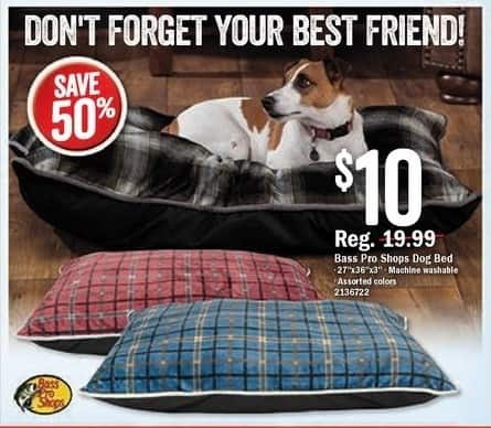 """Bass Pro Shops Black Friday: Bass Pro Shops Dog Bed: 27"""" x 36"""" x 3"""", Assorted Colors for $10.00"""