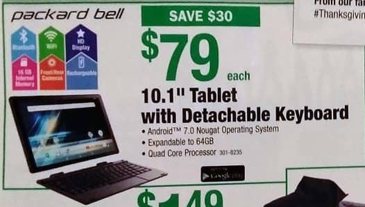 "Menards Black Friday: Packard Bell 10.1"" 16GB Android 7.0 Tablet with Detachable Keyboard for $79.00"