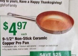 "Menards Black Friday: Copper Pro 9-1/2"" Non-Stick Ceramic Pan for $4.97"