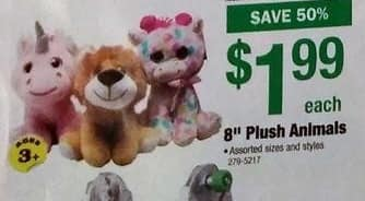 "Menards Black Friday: Assorted 8"" Plush Animals for $1.99"