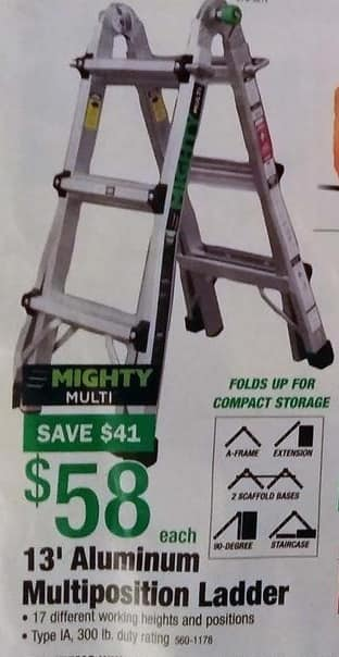 Menards Black Friday: Mighty Multi 13-ft Aluminum Multiposition Ladder, Type IA, 300lb Duty Rating for $58.00