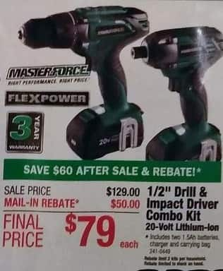 "Menards Black Friday: Masterforce Flexpower 20V Li-ion 1/2"" Drill and Impact Driver Combo Kit with Two 1.5Ah Batteries, Charger, and Bag for $79.00 after $50.00 rebate"
