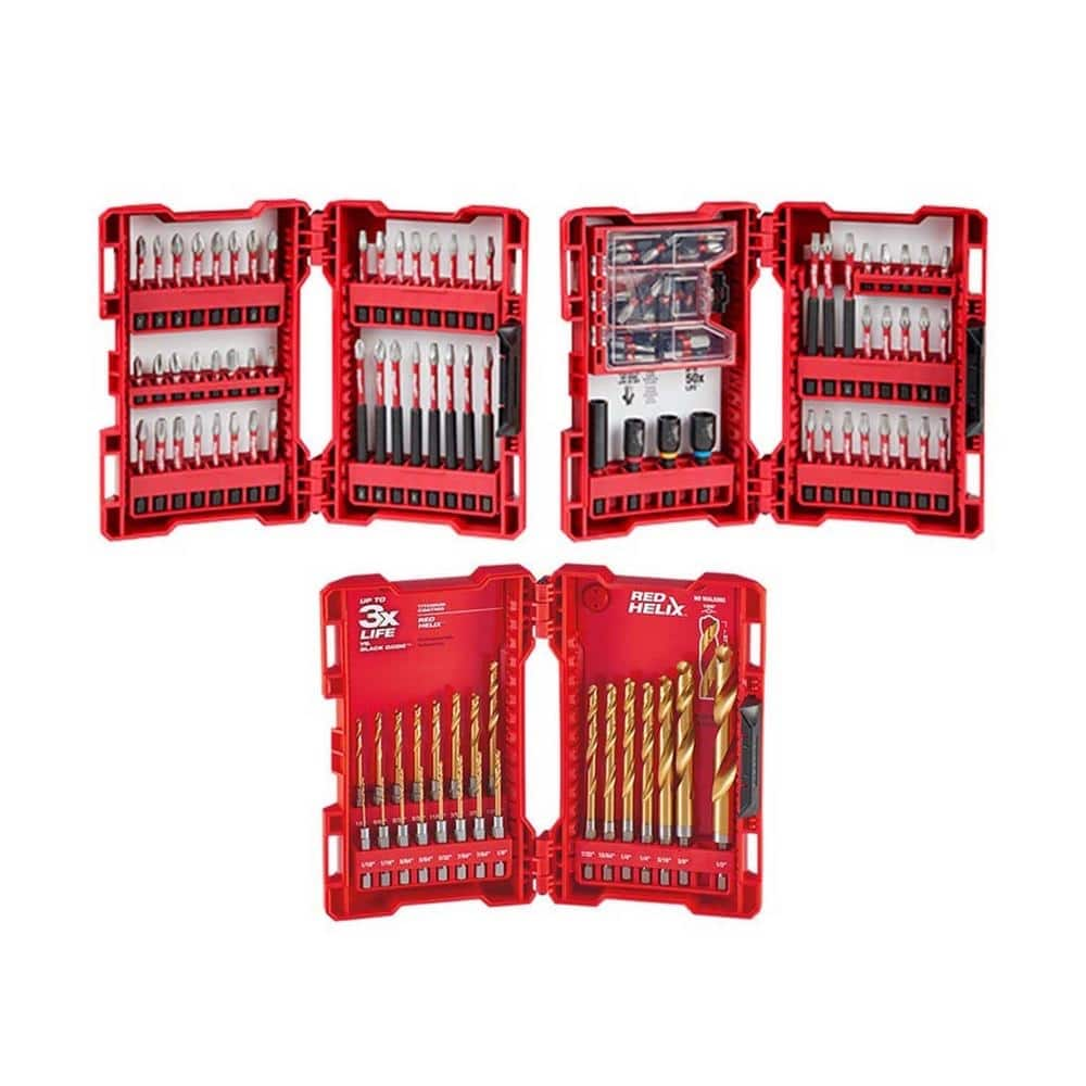 Milwaukee SHOCKWAVE Impact Duty Alloy Steel Drill and Driver Bit Set and Impact-Duty Titanium Drill Bit Set (123-Piece)-48-32-4083-48-89-4631 - $59.97