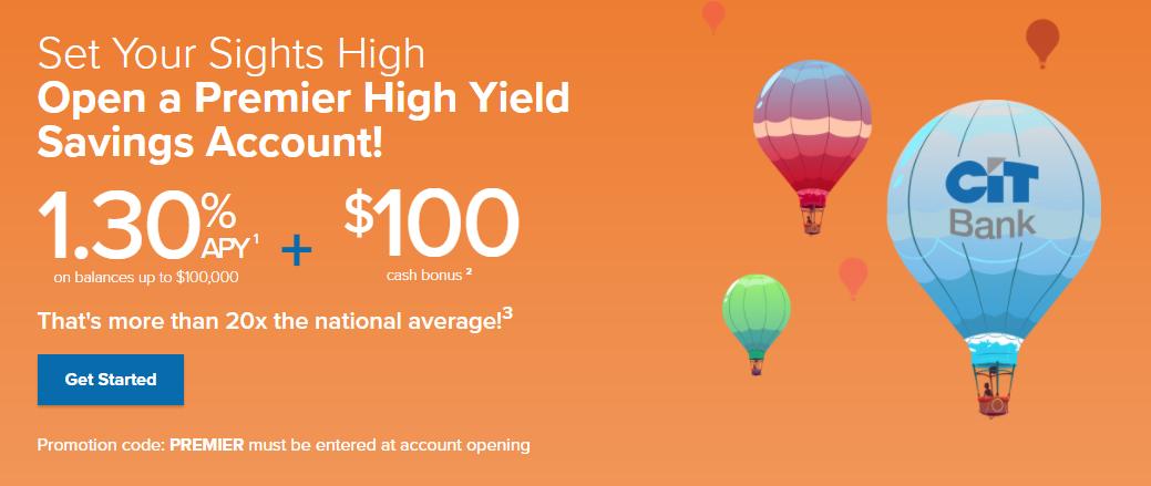 CIT Bank: Open a Premier High Yield Savings Account- Get 1.30% APY + $100 Cash Bonus