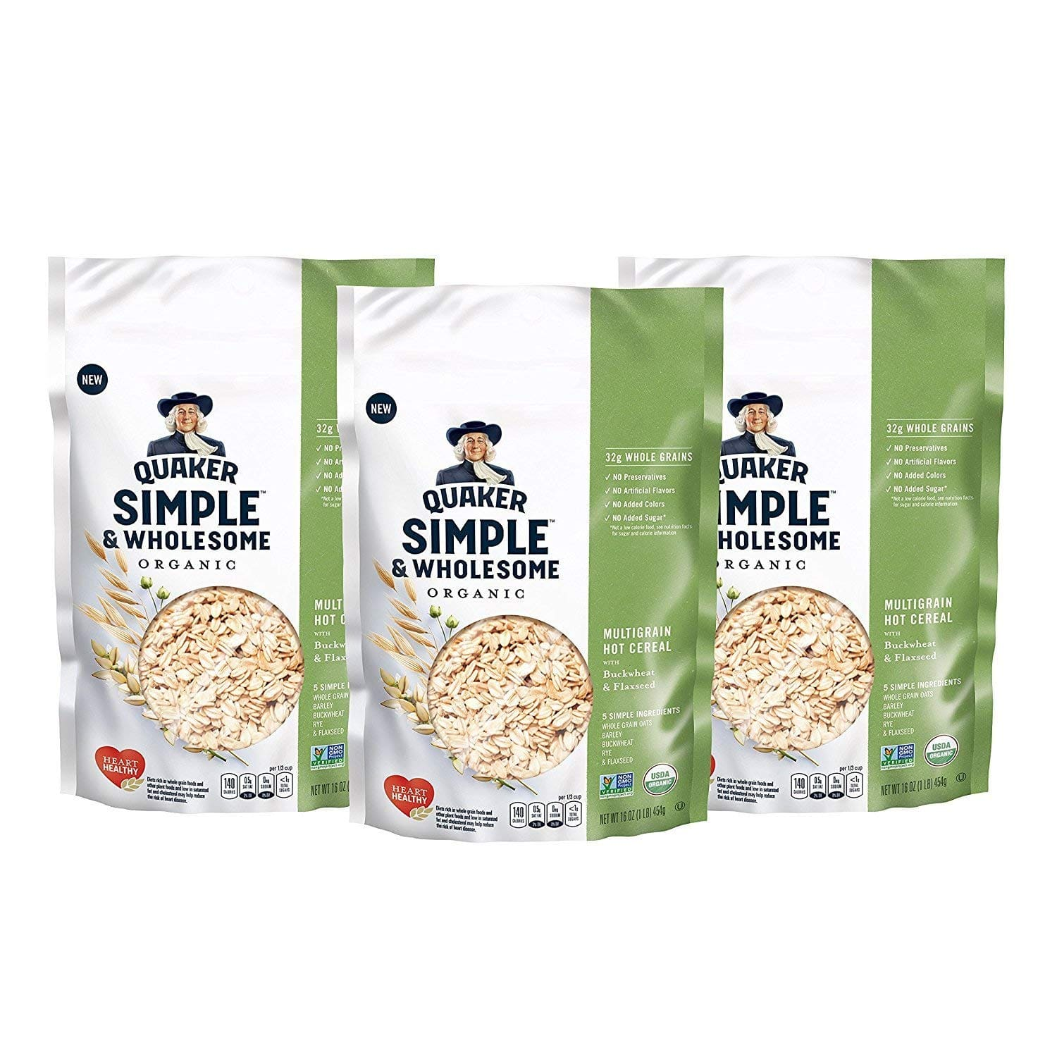 Quaker Simple & Wholesome Organic Multigrain Hot Cereal, Oats with Barley, Buckwheat, Rye & Flaxseed, 1 lb Bags, 3 count for $7.79