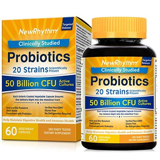 NewRhythm Probiotics 50 Billion CFU 20 Strains, 60 Veggie Capsules $9.85 @Amazon