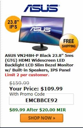 """ASUS VN248H-P Super Narrow Bezel Black 23.8"""" 5ms (GTG) HDMI Widescreen LED Backlight LCD Monitor IPS  for $89.99 with PromoCode after $20 MIR"""