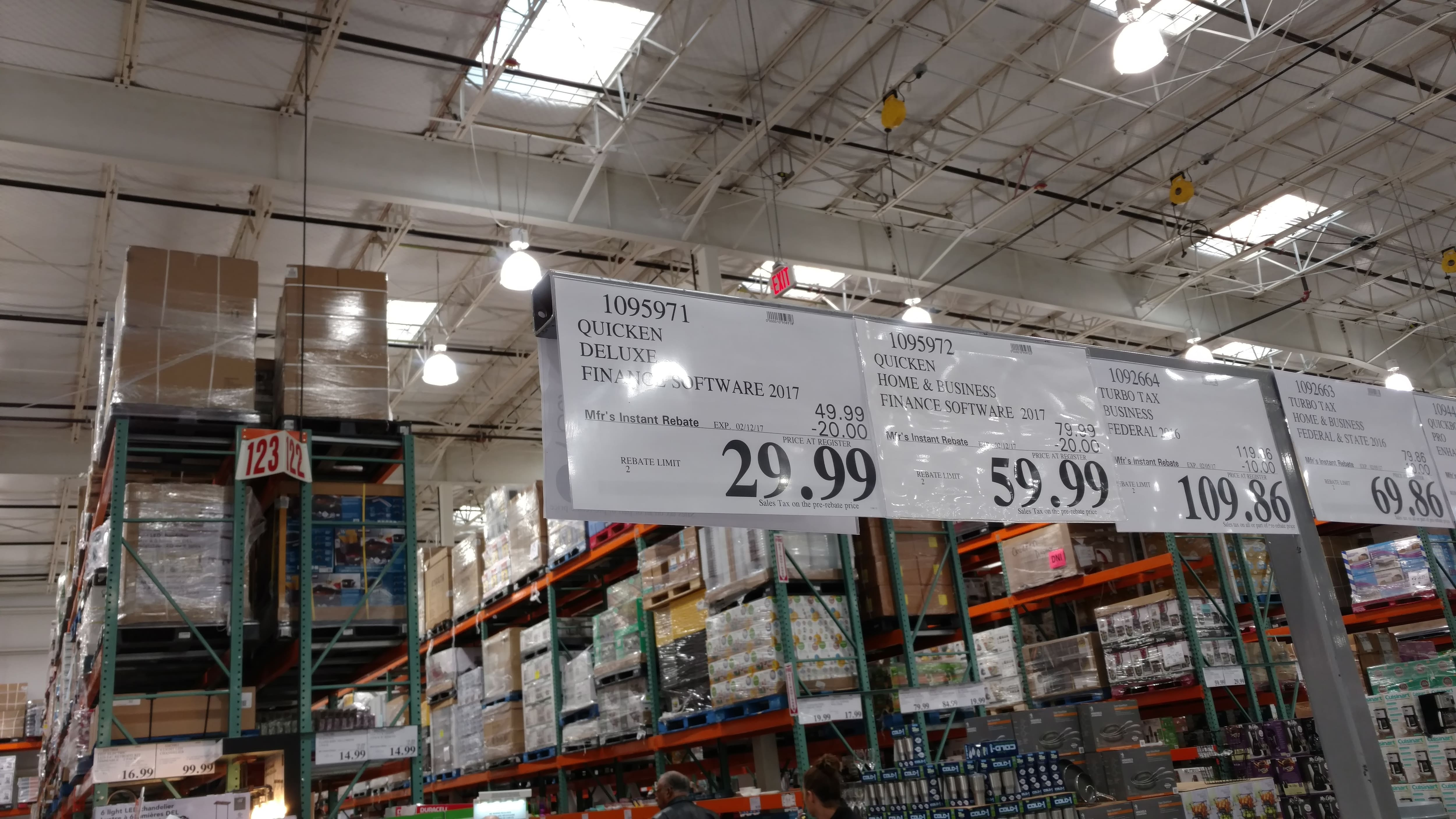 Quicken Deluxe 2017 $30 after instant rebate at Costco B&M