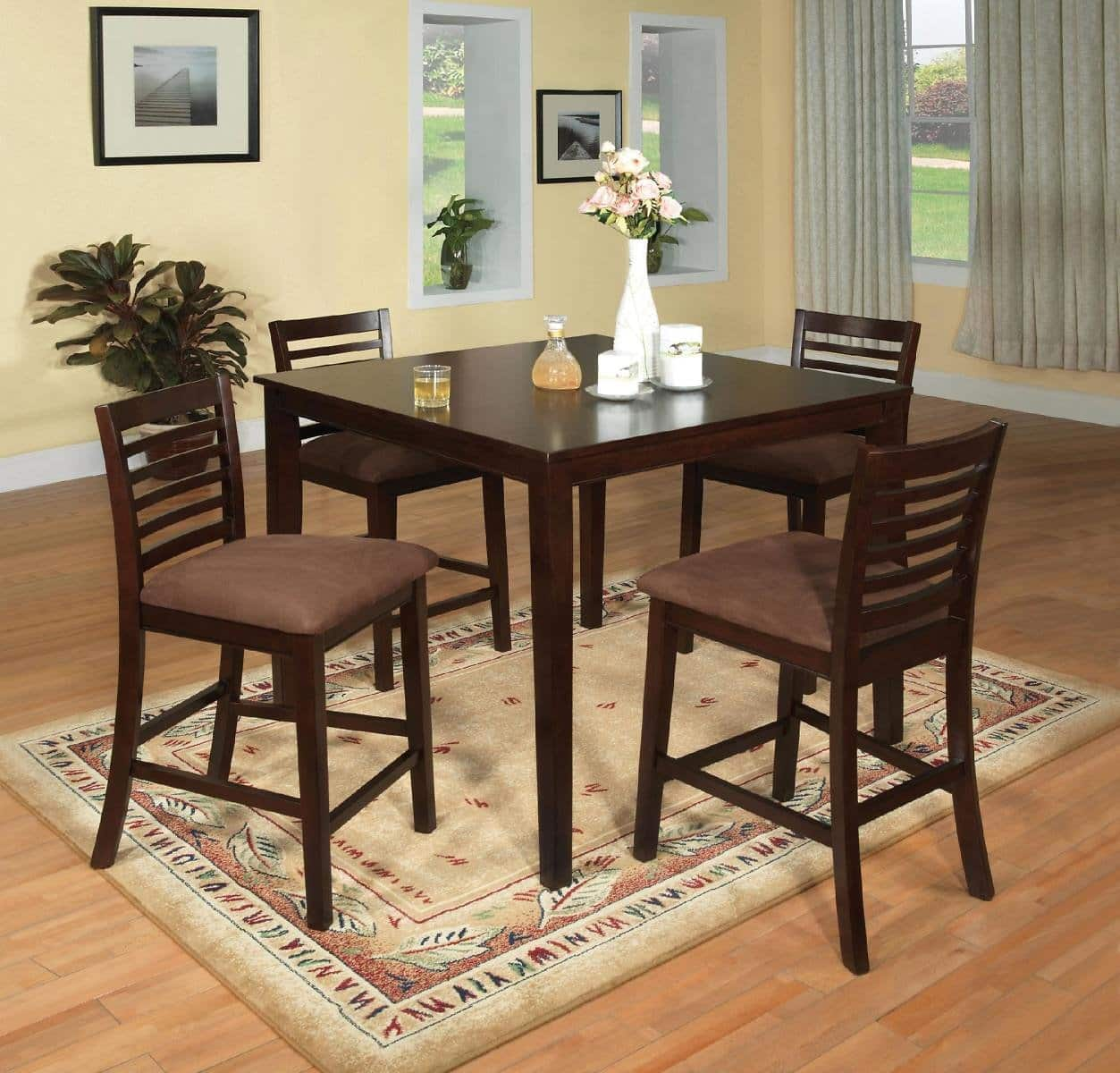 Furniture Of America Meckins Espresso 5 Piece Counter Height Dining Set  $394.99 + Fs