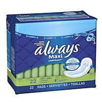 Amazon Deal: Always: 22-Ct Maxi Unscented Pads w/o Wings, Long/Super or 16-Ct Ultra Regular w/ Wings, Clean Scent Thin Pads $1.84 or Less + Free Shipping