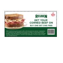 Arby's Buy 1 Get 1 Free Reuben Sandwich Q - 3/15 thru 3/17