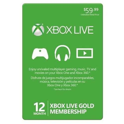 Rakuten Coupon: $15 off $50 Sitewide: 12-Month Xbox Live Gold Membership Card  $35 + Free Shipping