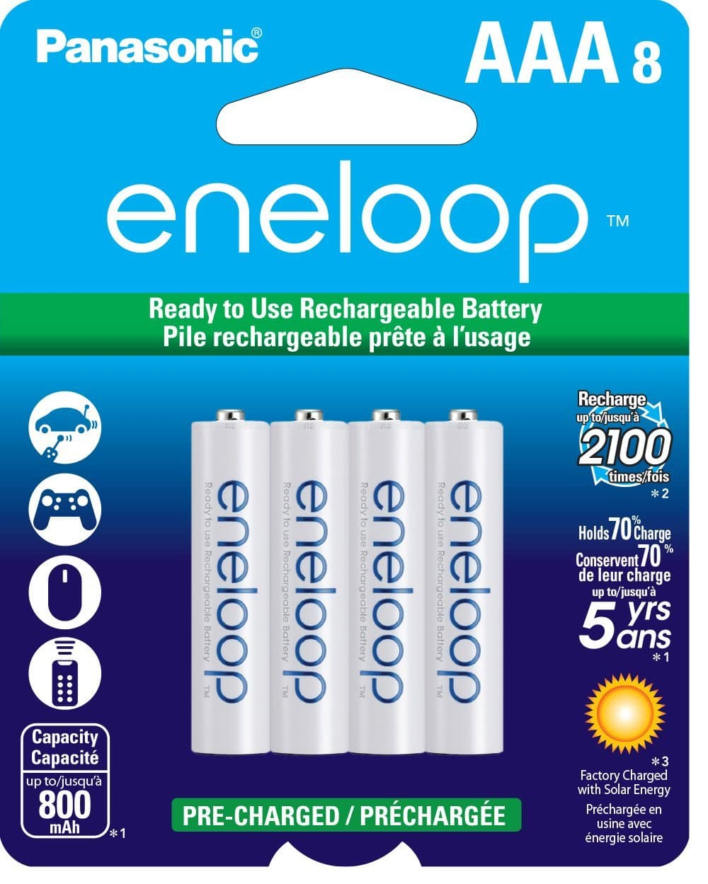 Panasonic Eneloop AAA New 2100 Cycle Ni-MH Pre-Charged Rechargeable Batteries, 8 Pack $15.49 w/Free Shipping @ Amazon