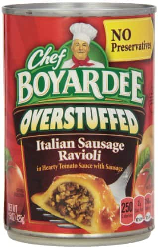 12-Pack 15oz Chef Boyardee: Big Overstuffed Italian Sausage Ravioli or Whole Grain Abc's & 123's w/ Meatballs $7.20 or Less + Free Shipping Amazon.com