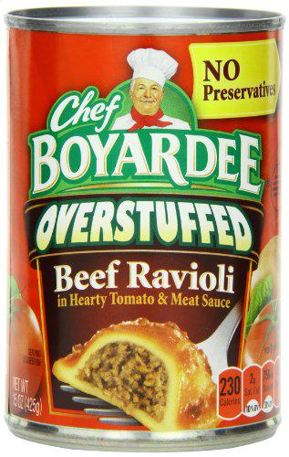 12-Pack 15oz Chef Boyardee: Big Beef Overstuffed Ravioli or Whole Grain Beefaroni $7.20 or Less + Free Shipping Amazon.com
