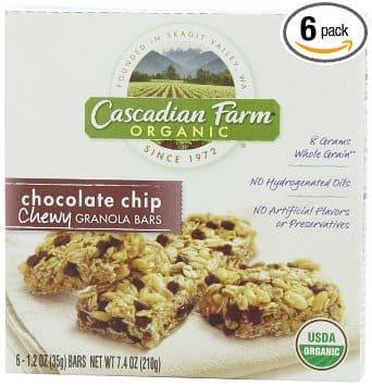 6-Pack of 6-Count 1.2oz Cascadian Farm Organic Chewy Granola Bars (Chocolate Chip) $5.69 + Free Shipping Amazon.com