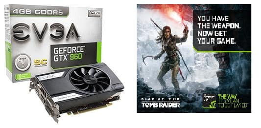 EVGA GeForce GTX 960 4GB Superclocked Video Card with Rise of the Tomb Raider for $169.99 after $20 MIR