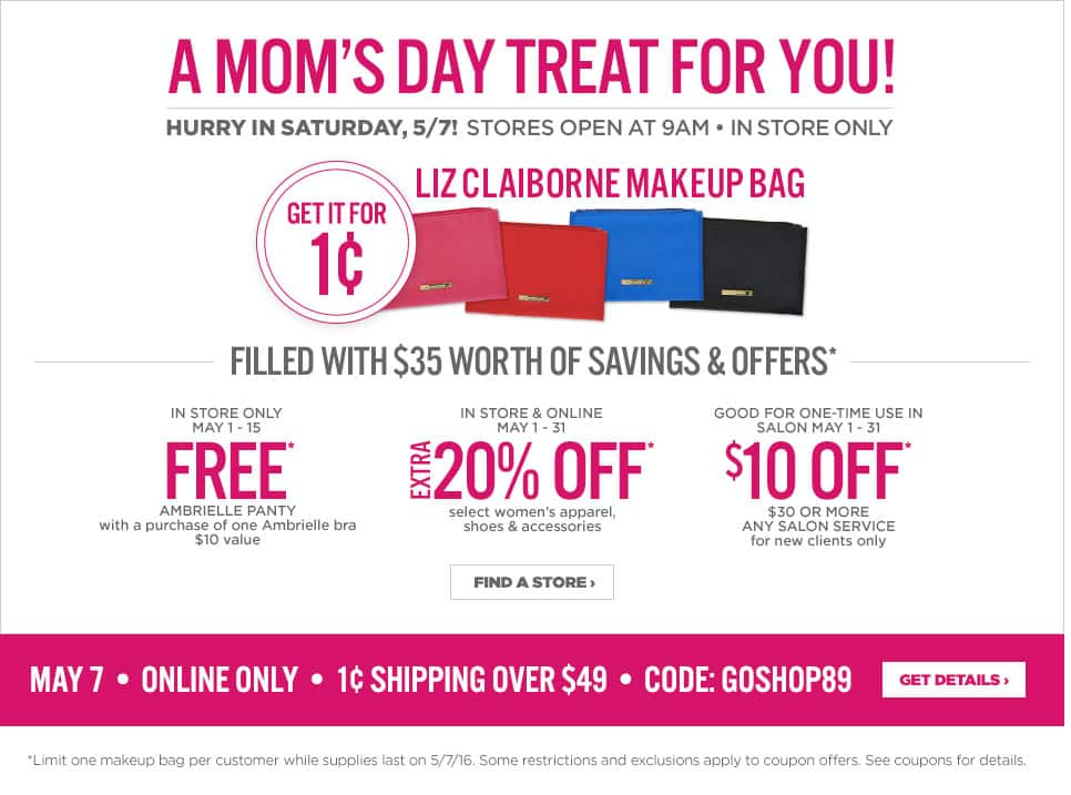 JCPenney Mother's Day Gift & Coupon: Liz Claiborne Makeup Bag Filled w/ $35 Worth of Saving $0.01 (5/7/16 In Store Only), $10 Off $25+ Purchase (Online & In-Store)