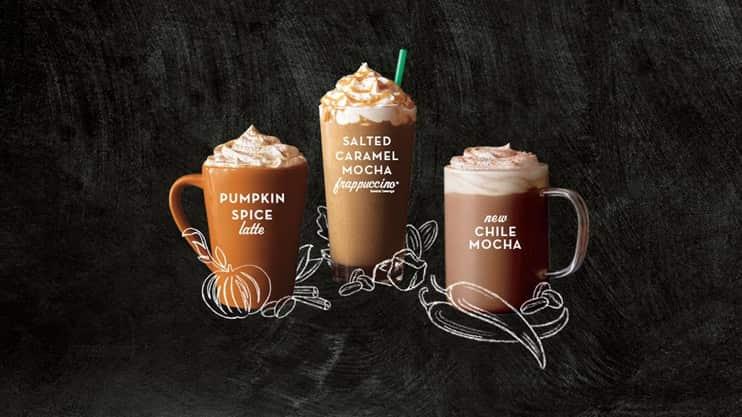 Starbucks Fall Beverages $3  2-5 PM  9/22 - 9/25