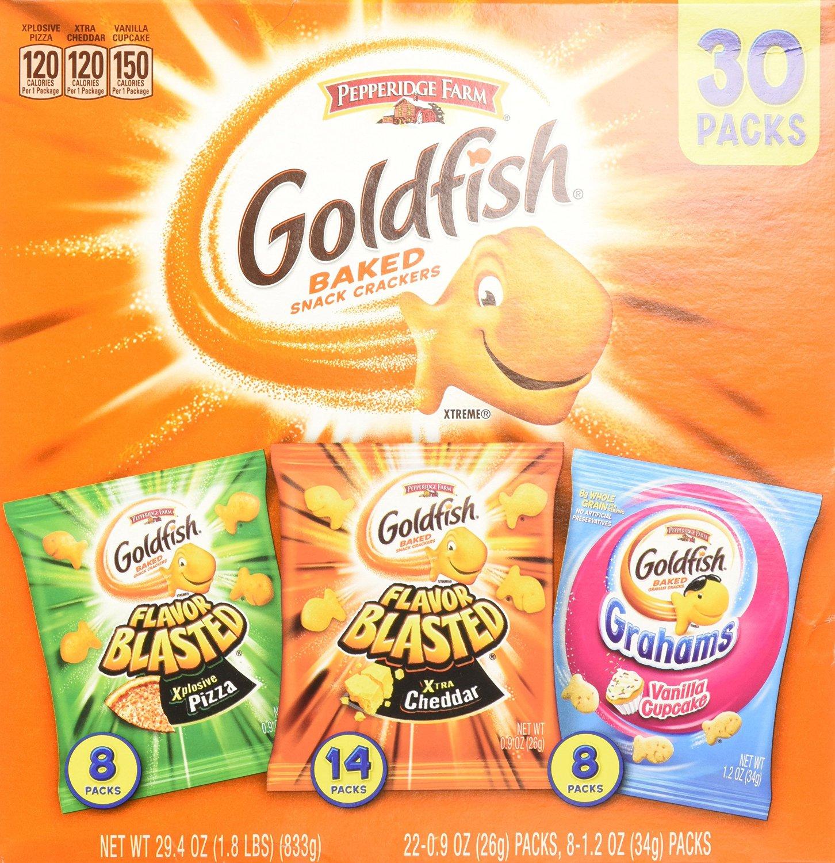 Amazon.com has 30-Count Pepperidge Farm Goldfish Variety Pack Bold Mix $8.48 W/ S&S + Free Shipping