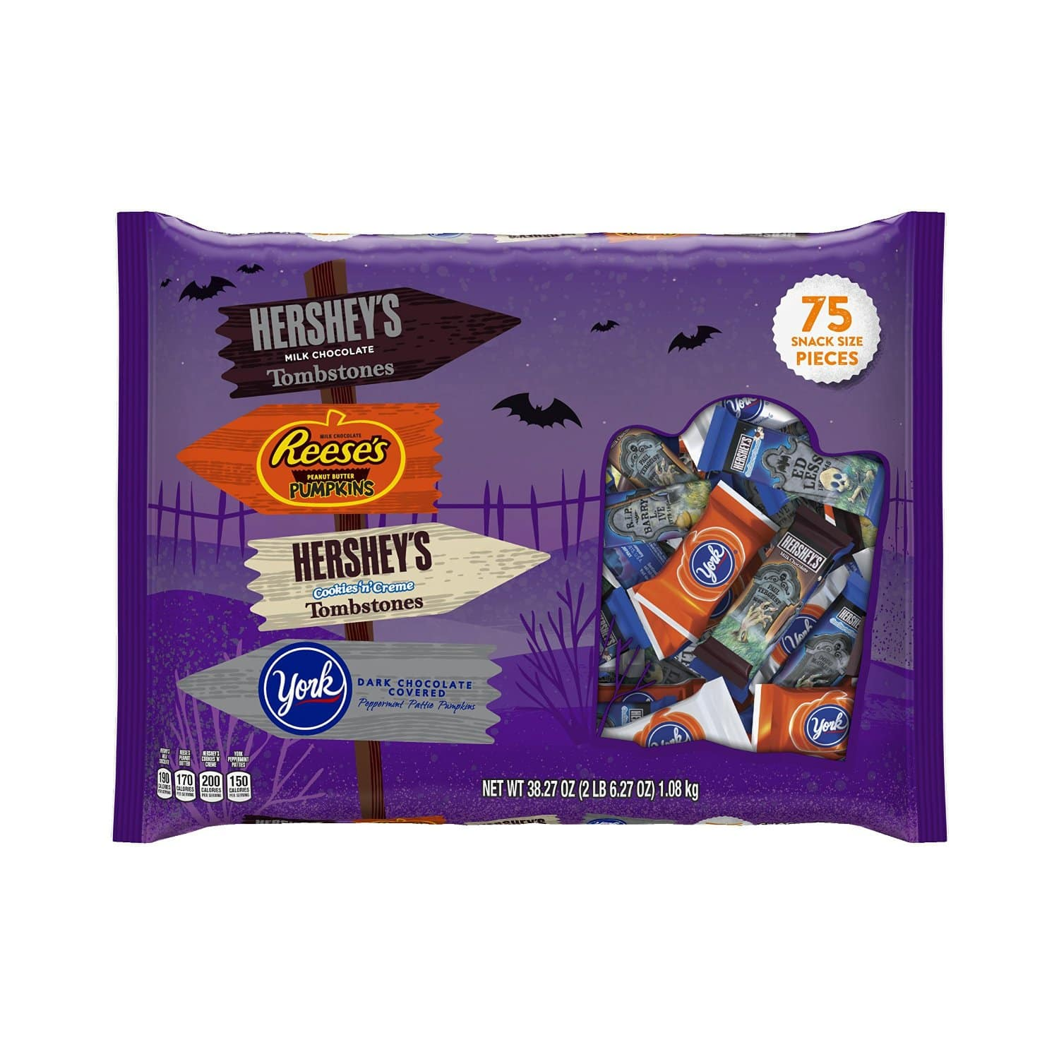 HERSHEY'S Halloween Snack Size Assortment (38.27-Ounce Bag, 75 Pieces) $8.45 at amazon.com