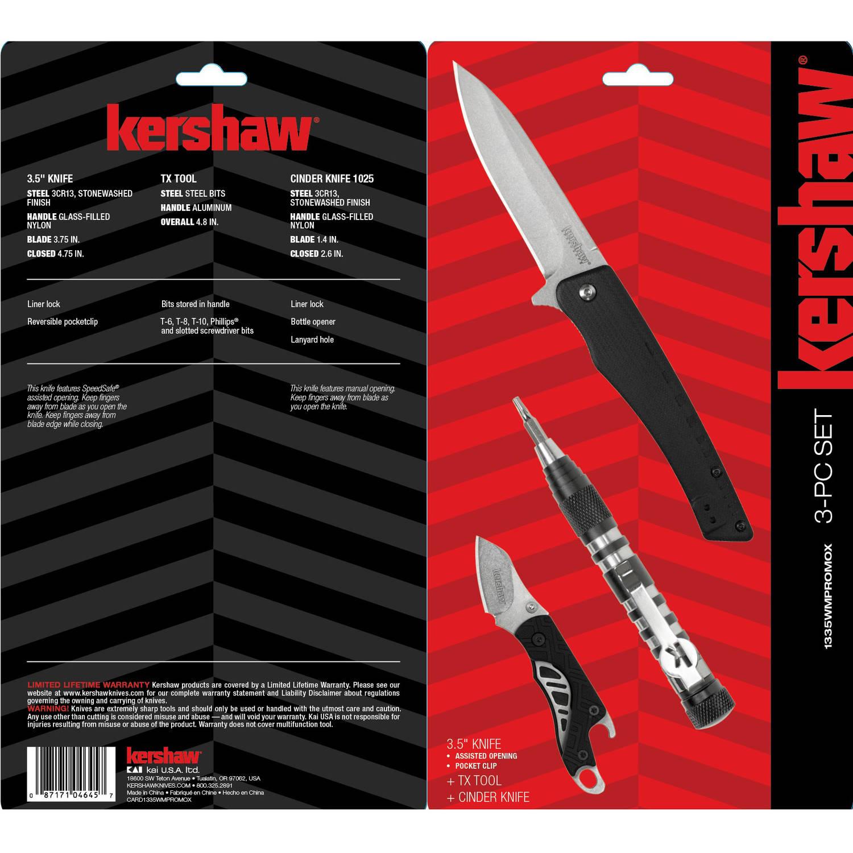 Kershaw 3-Piece Tool Kit (3.5 Knife, Cinder Knife & Tx Tool w/ Bits) $9.95 + Free Store Pickup Walmart.com
