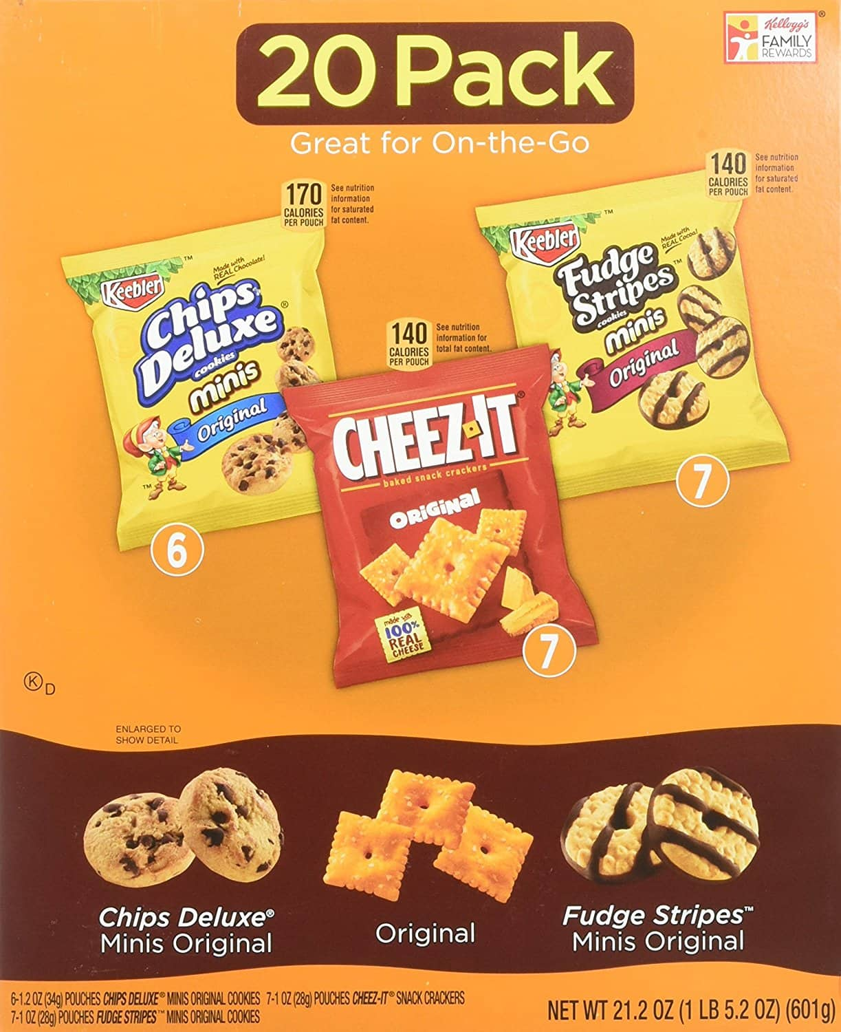 20-Count Keebler Cookie & Cheez-It Variety Pack (21.2oz Total) $3.18 or Less + Free Shipping Amazon.com