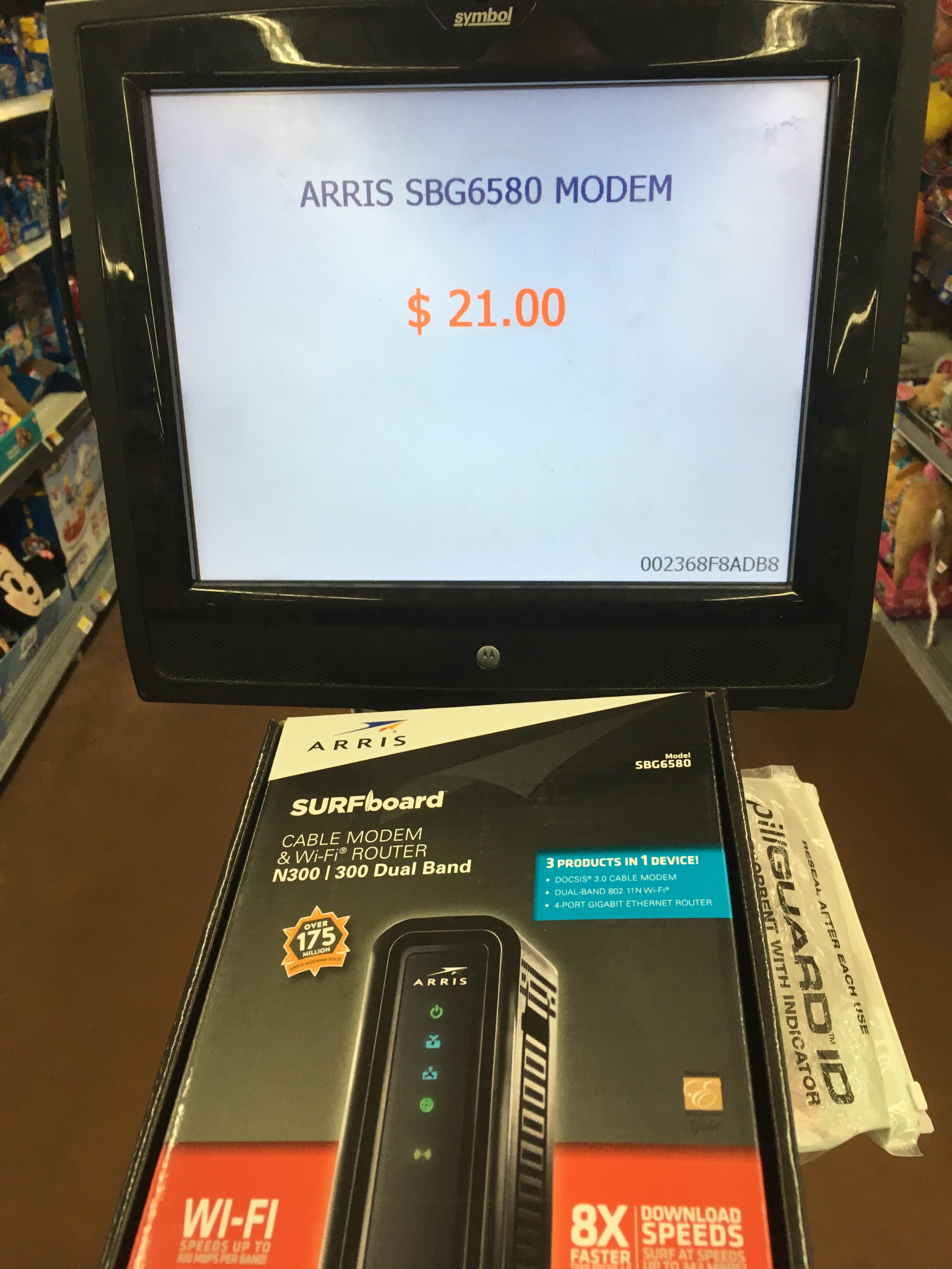 Walmart - Arris surfboard SBG6580 modem as low as $9 norm $108 *YMMV B&M - in store only*