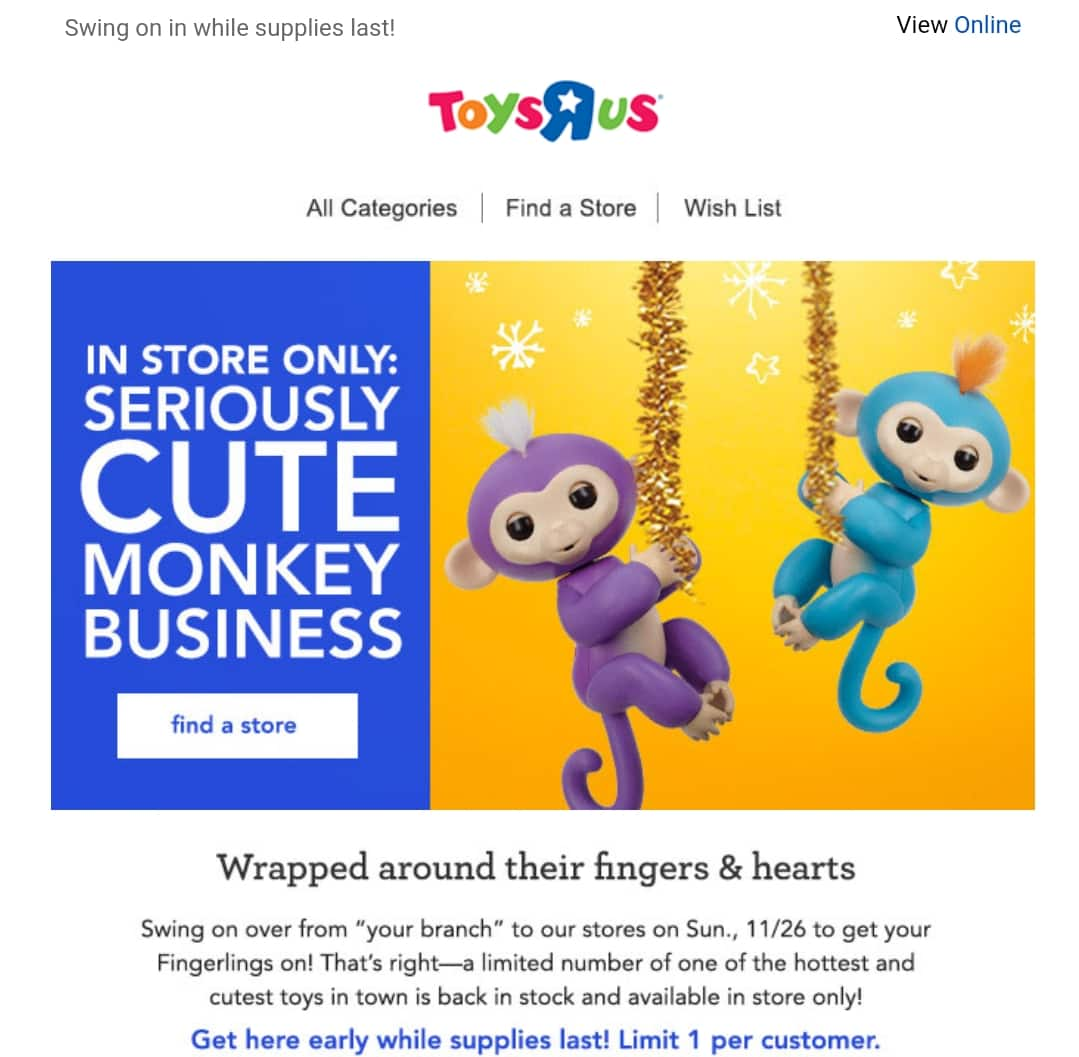 Fingerlings Interactive Monkey Toy to be available at Toys R Us stores on Sun 11/26/17.